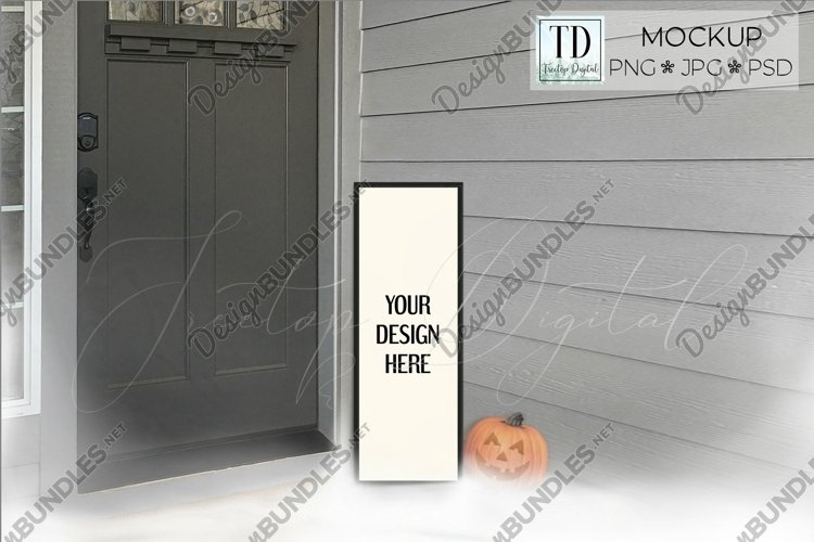 Halloween Porch Sign Mockup, A Vertical Porch Sign Mock-up example image 1