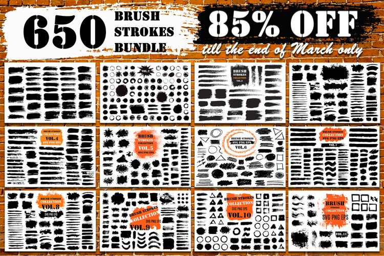 Brush Strokes SVG Bundle| 650 PNG Paint Brush Elements