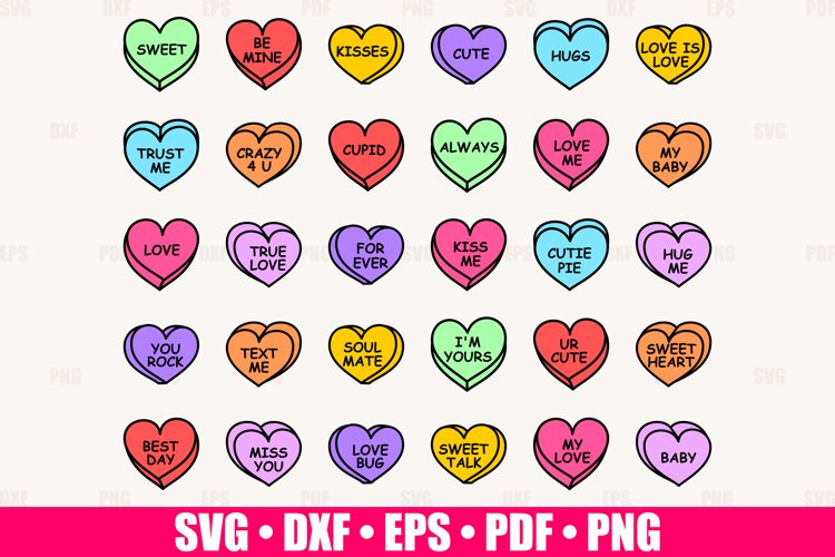 Valentine Candy Hearts SVG Bundle, Conversation Hearts SVG
