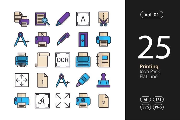 Printing Icon Flat Line SVG, EPS, PNG