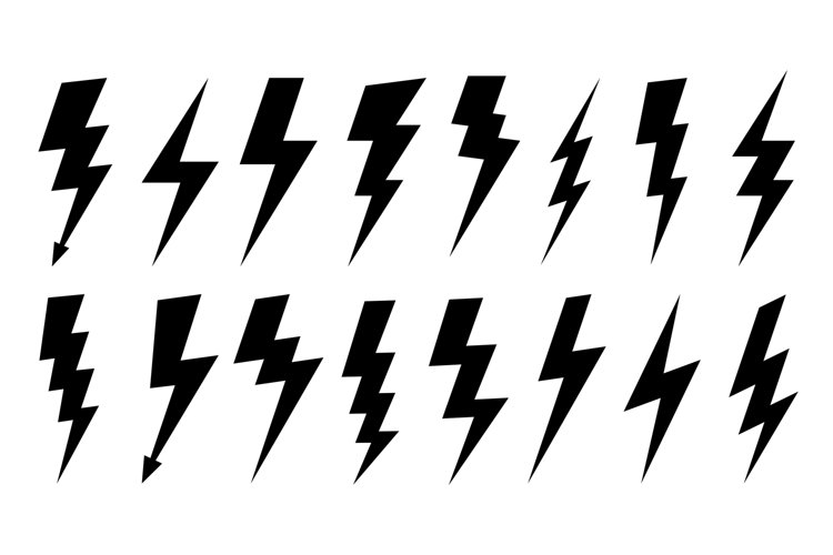 Lightning silhouette. High voltage electrical power symbol, example image 1