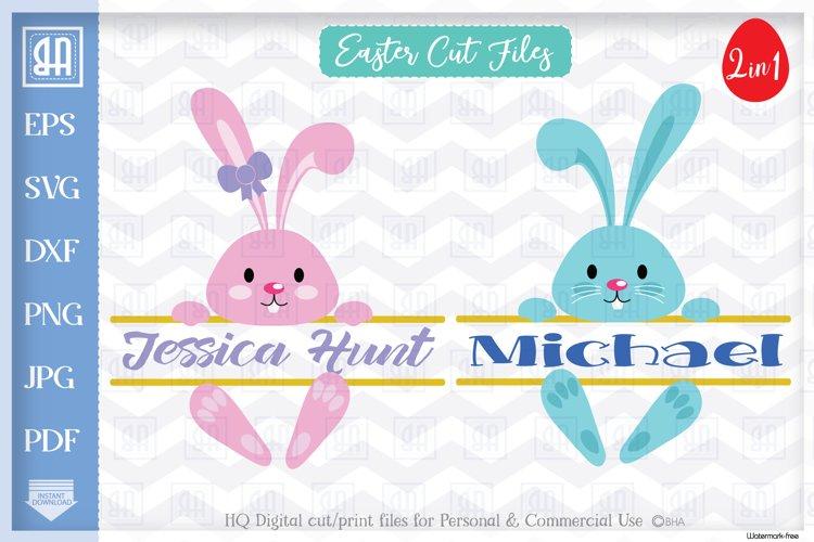 Easter Bunny SVG, Easter Split MONOGRAM cut files, Bunny SVG example image 1