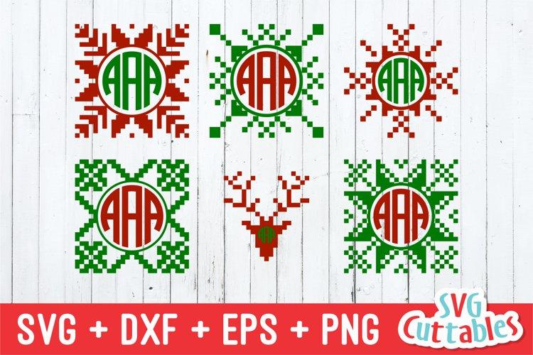 Christmas SVG | Christmas Sweater Monogram Frames example image 1