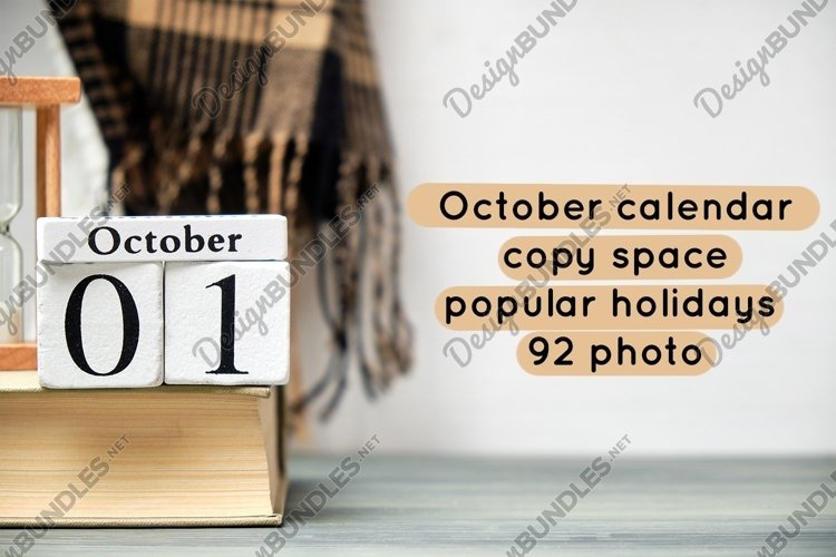 October calendar - copy space - popular holidays - 92 photo example image 1