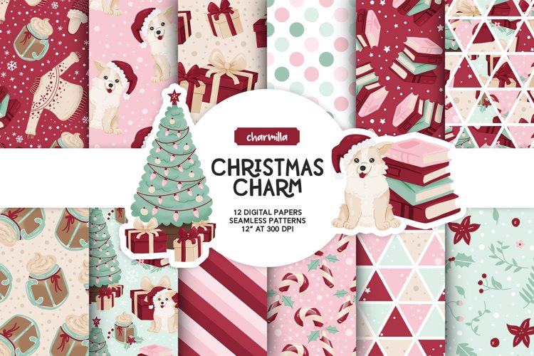Cozy Christmas Digital Papers example image 1