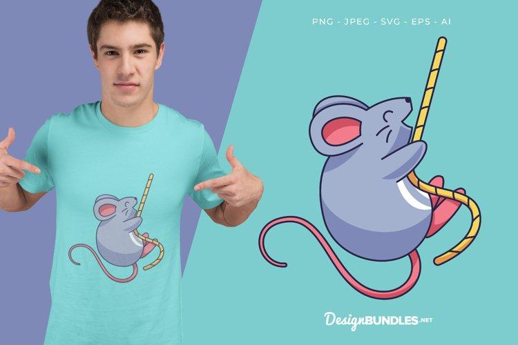 Swinging Mouse Vector Illustration For T-Shirt Design