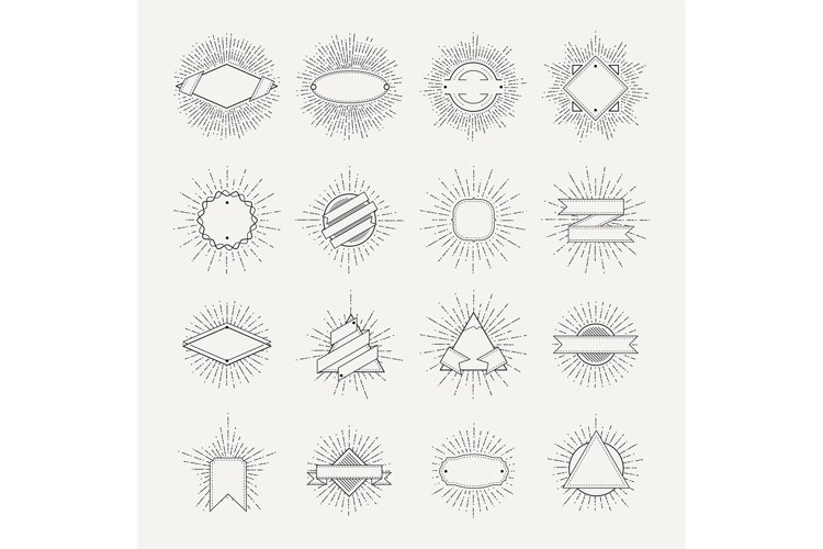 Stamp and badges collection. Different shapes and sunburst f example image 1