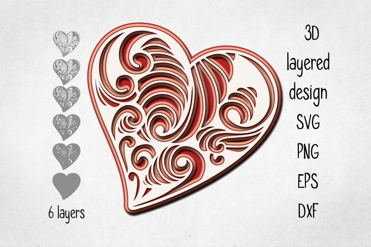 3D layered Heart Cut file example image 1