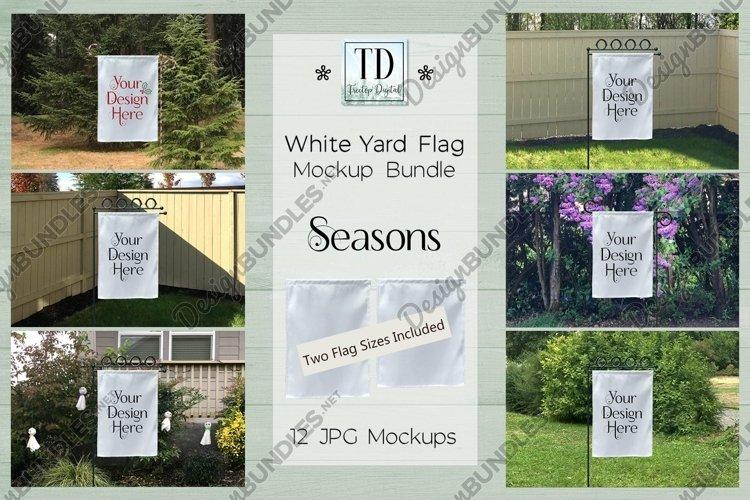 White Yard Flag Mockup Bundle, Seasons, Garden Flag Mock-Up example image 1