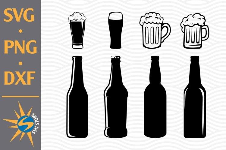 Beer Bottle, Beer Mug SVG, PNG, DXF Digital Files Include