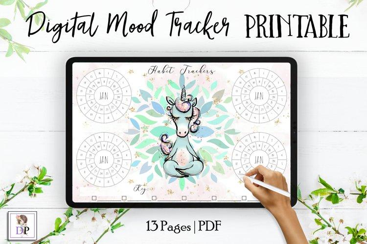 Digital Habit Trackers Y5 Yoga Series for Planner PRINTABLE example image 1
