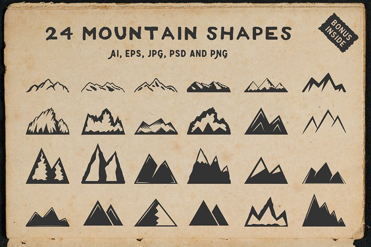 24 vintage mountain shapes example image 1