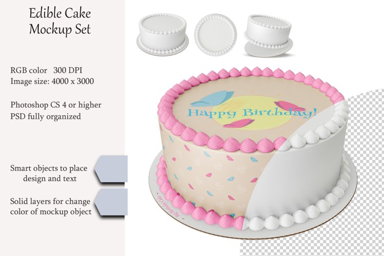 Edible cake Mockup set. Product place. PSD object mockup.
