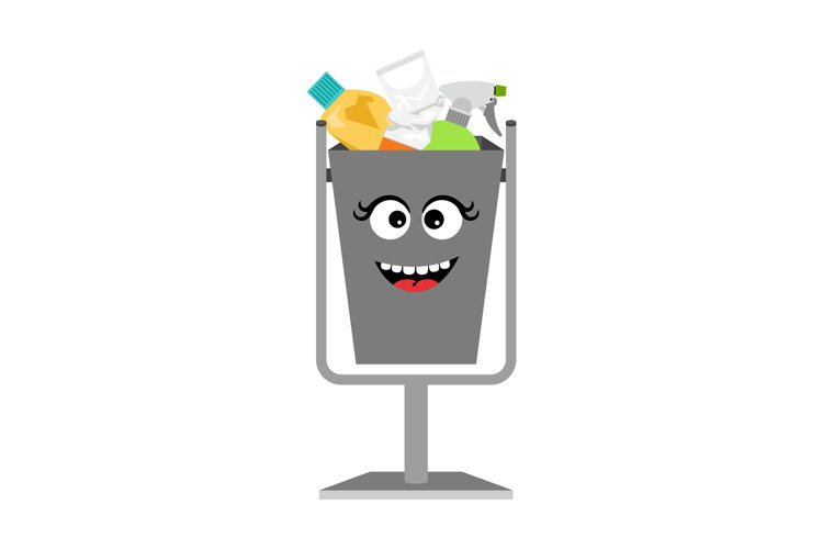 Garbage can with waste trash example image 1