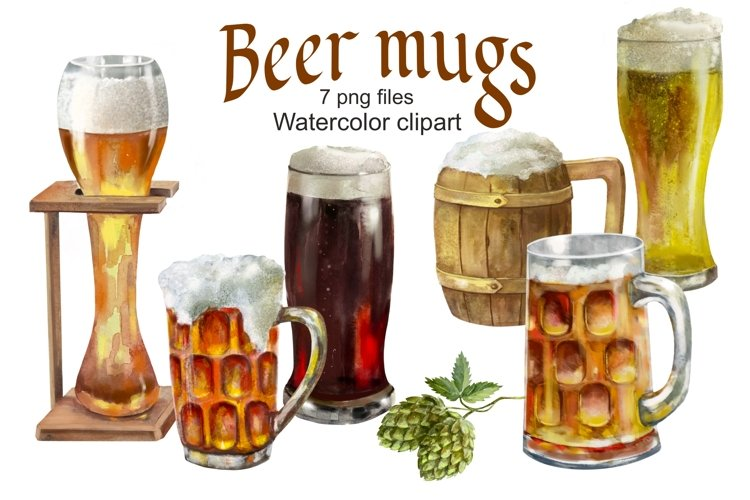 Beer Mugs and Glass watercolor clipart printable