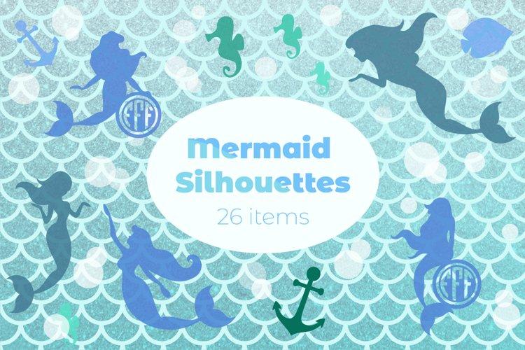 Mermaid Silhouettes | Mermaid Monograms SVG Cut Files