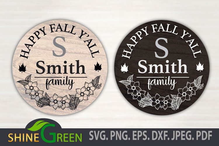 Floral Family Monogram SVG - Happy Fall Y'all Round Sign example image 1