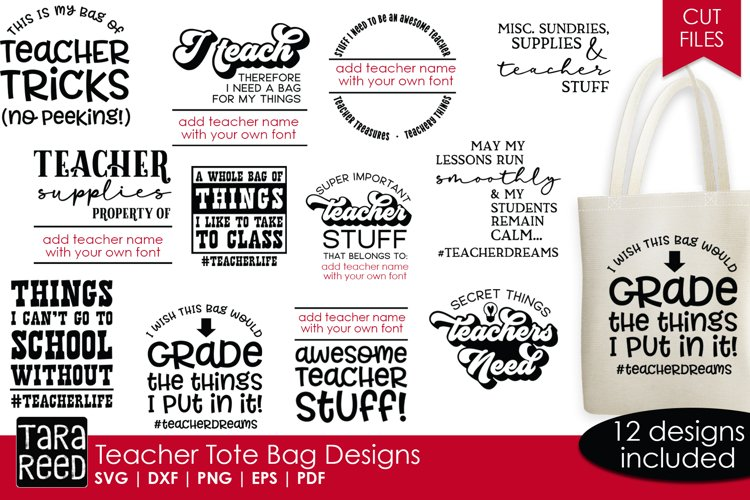 Teacher Tote Bag Designs - Teacher SVG files for Crafters