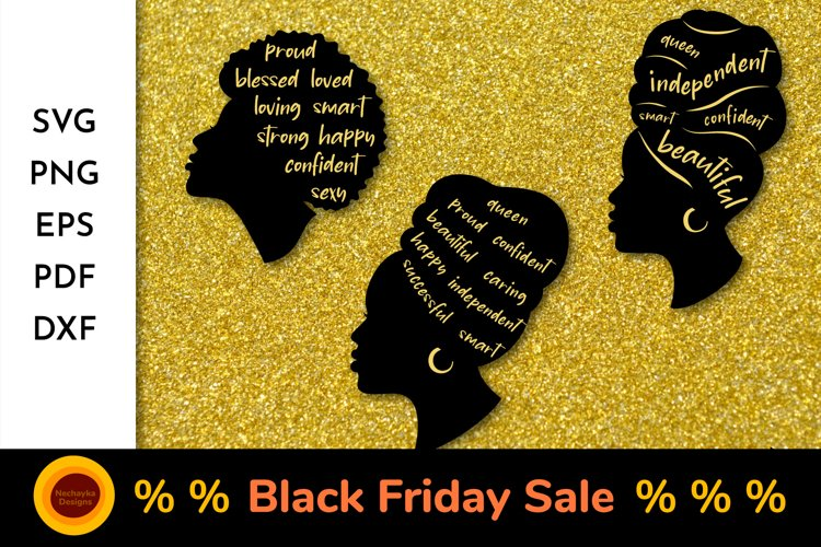 Black Woman SVG Bundle Black Woman Silhouette African Afro example image 1