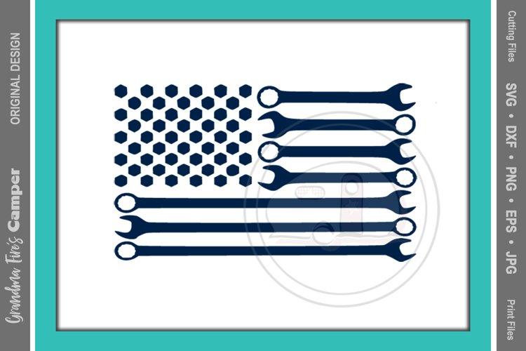 American Flag SVG, Wrench Flag, Mechanic