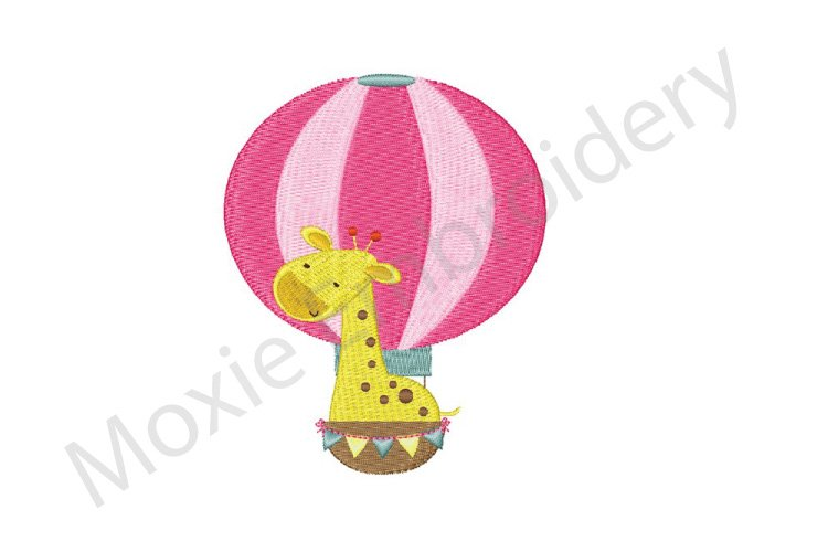 Giraffe Embroidery Design, Hot Air Balloon Giraffe Design