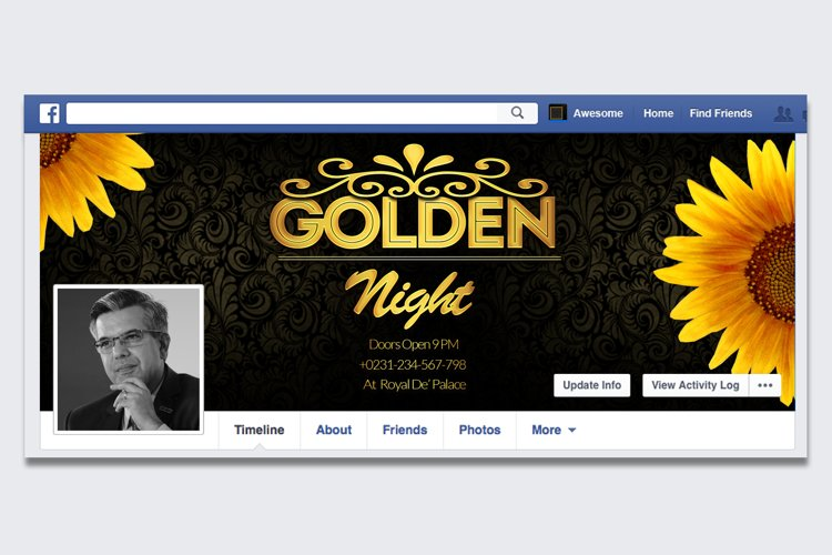 Golden Party Night FB Timeline Cover example image 1