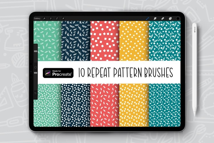 10 Confetti Patterns Repeat Pattern Procreate Brush Bundle