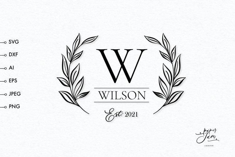 Family monogram svg, Wedding split monogram frame SVG example image 1