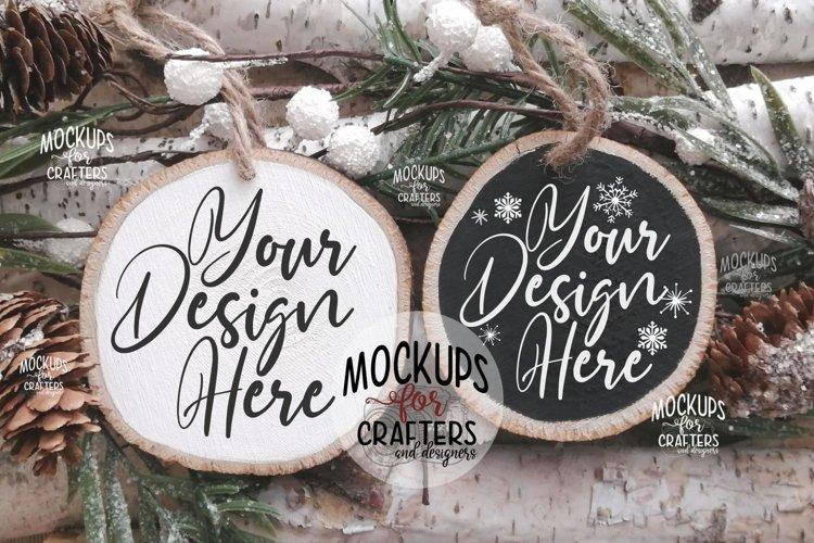 Wood Slice Ornament Duo, Christmas theme,