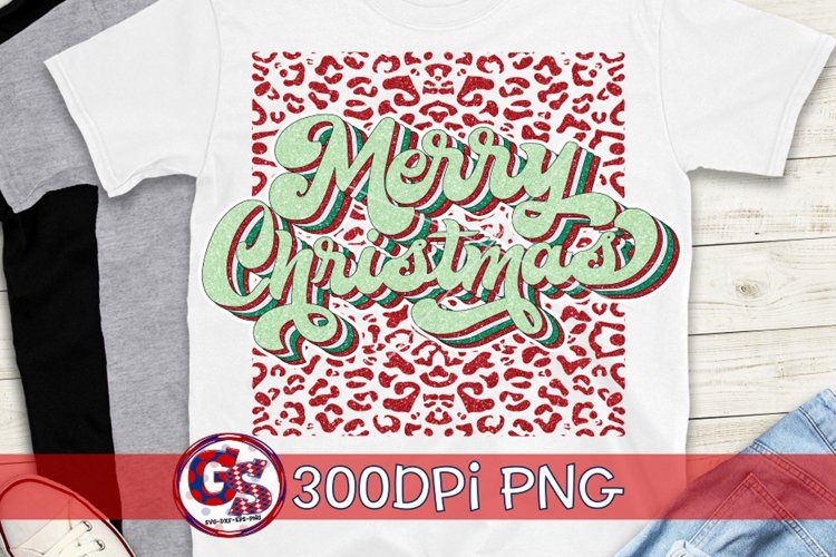 Merry Christmas Leopard Print PNG for Sublimation Printing example image 1