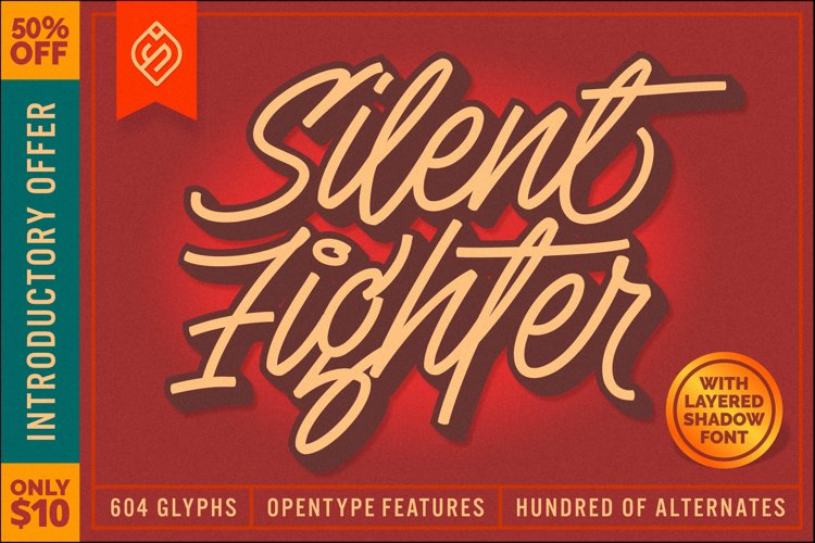 Silent Fighter - 3D Layered Font example image 1