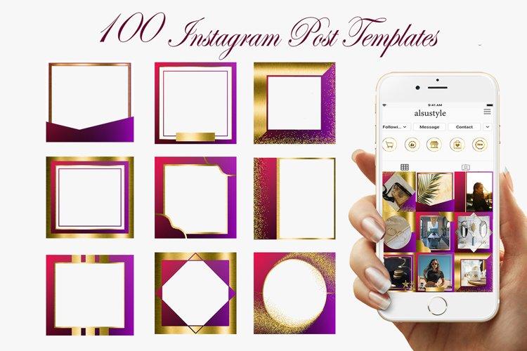 Purple Gold Instagram Post Templates, Instagram post frames