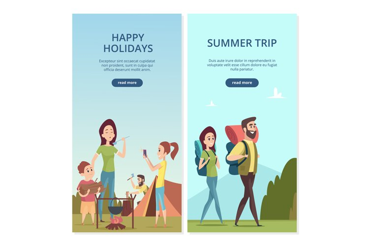 Summer camping vector banners. Family trip and travel illust