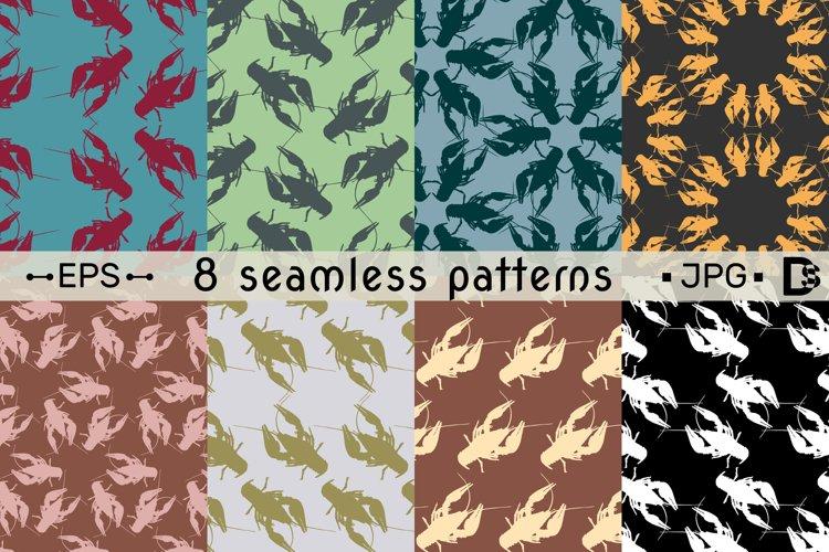 8 Crayfish seamless pattern set. Vector illustration. example image 1