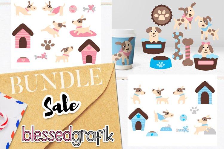 Puppy dogs clip art illustrations bundle - pink blue