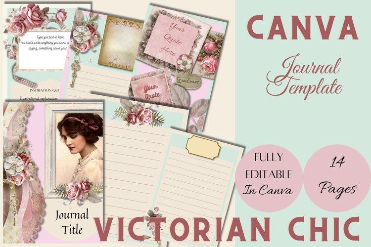 Canva Editable Journal Template Victorian Chic 14 pages