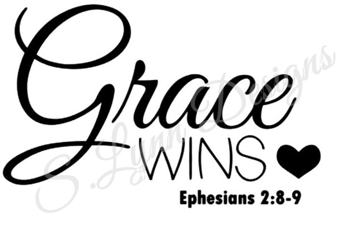 Grace Wins Bible Verse SVG FIle example image 1
