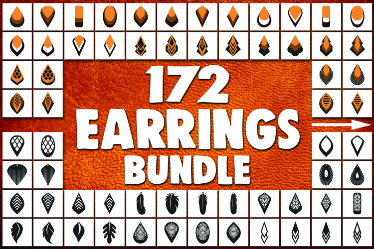 172 Earrings template SVG - Cut files - Leather earrings SVG example image 1