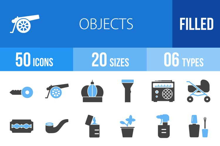 50 Objects Filled Blue & Black Icons example image 1