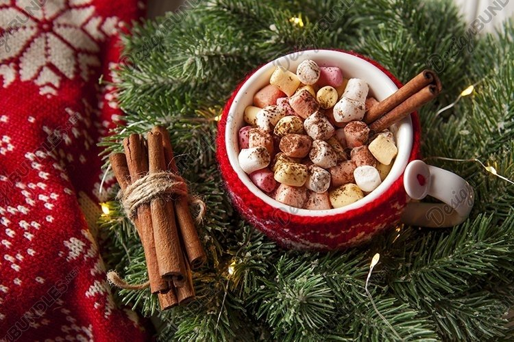 Cup of hot cocoa drink with marshmallows example image 1