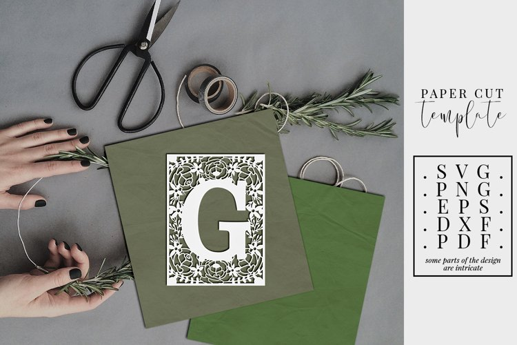 Floral frame letter G, single initial paper cut, wedding SVG example image 1