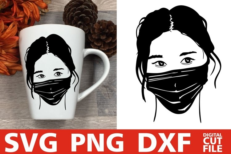 Chinese Woman In Face Mask svg, Japan svg, Asian Girl svg example image 1