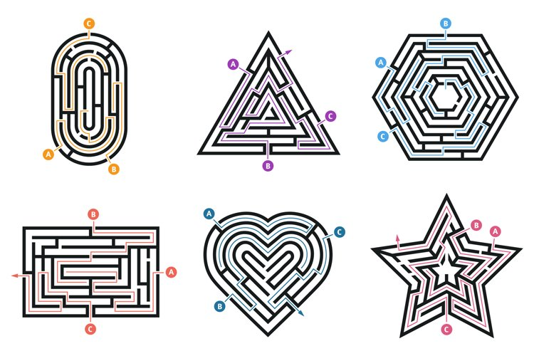 Labyrinth conundrum. Searching way, many ways directions maz example image 1