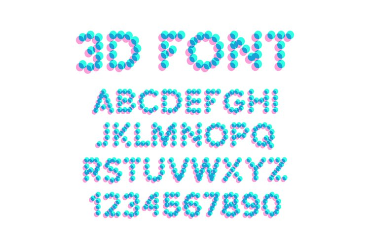 3D Effect Pixel Stereo Font Vector. Distortion Numerals And