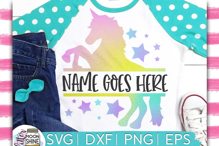 Unicorn Split Monogram Frame SVG DXF PNG EPS Cutting Files