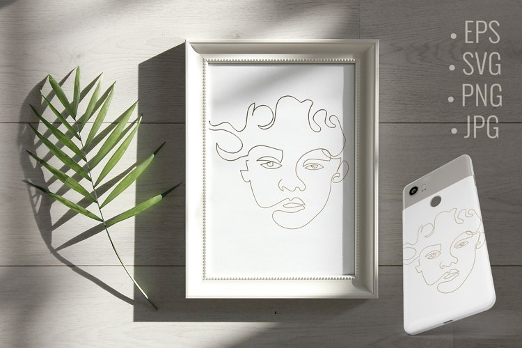 Abstract line art woman face