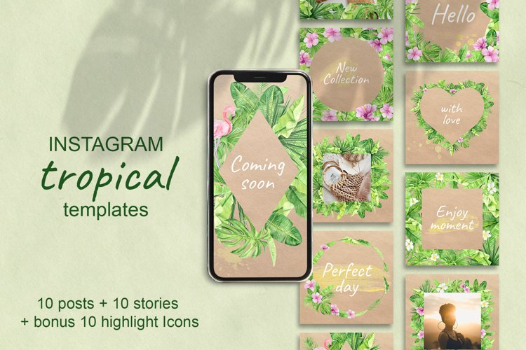 Tropical Instagram Template. Stories, Posts and Highlights example image 1