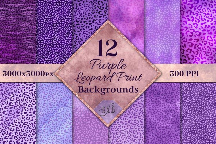 Purple Leopard Print Backgrounds - 12 Image Textures Set