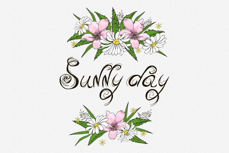Sunny day flowers arrangement design postcard