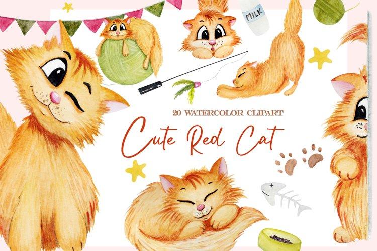 Watercolor cat clipart png, cute cat clip art, kawaii pet